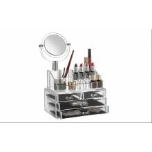 Organizator multifunctional pentru cosmetice cu oglinda incorporata, Alb transparent